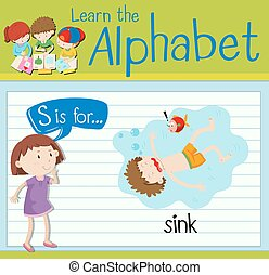 flashcard, s, sombrer, lettre