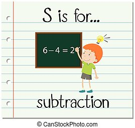 flashcard, s, soustraction, lettre