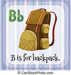 flashcard, sac à dos, b, lettre
