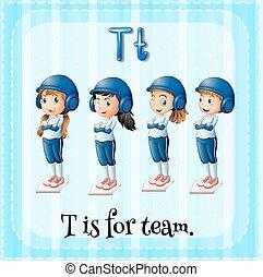 flashcard, t, lettre, équipe