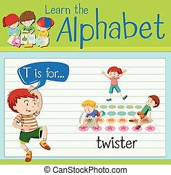 flashcard, twister, t, lettre