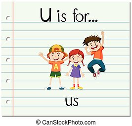 flashcard, u, lettre, nous