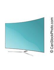 flat., illustration., plasma., écran tv, réaliste, lcd, vecteur