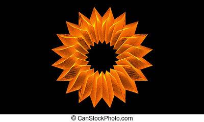 fleur, alpha, mat, orange, boucle