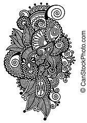 fleur, art, autotrace, ukrainien, stylique numérique, noir, ethnique, orné, dessin ligne, style