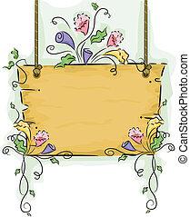 fleur, bois, pendre, enseigne, vignes, vide