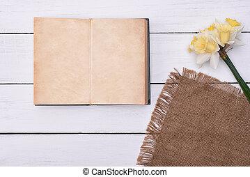 fleur, bois, vendange, sommet, cahier, fond, vide, table, vue