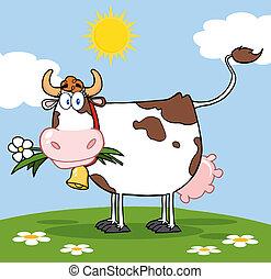 fleur, bouche, vache