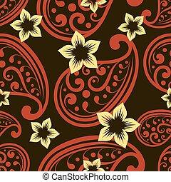 fleur, buds., modèle, papier peint, seamless, vecteur, orné