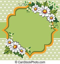 fleur, cadre, printemps, pâquerette