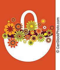 fleur, carte, printemps, illustration, vecteur, panier