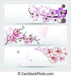 fleur, cerise, bannières, ensemble