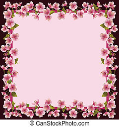 fleur, cerise, cadre, -, japonaise, arbre, sakura, floral