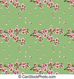 fleur, cerisier, seamless, sakura, fond