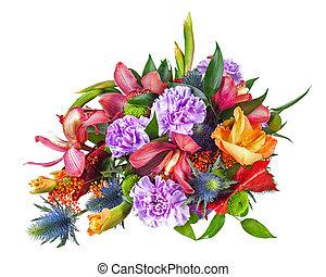 fleur, coloré, bouquet, isolé, arrangement, milieu de table, brin