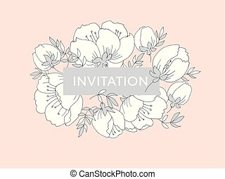 fleur, fleur apple, rose, pattern., arbre, élégant, tendre, pâle