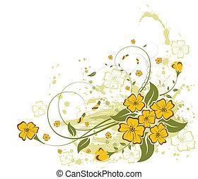 fleur, grunge, fond