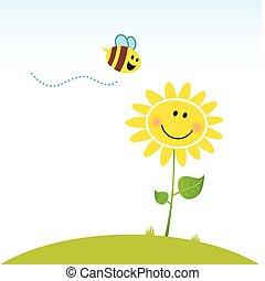 fleur, heureux, printemps, abeille
