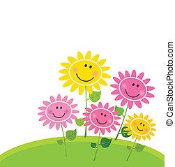 fleur, heureux, printemps, jardin