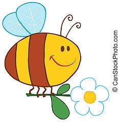 fleur, heureux, voler, abeille