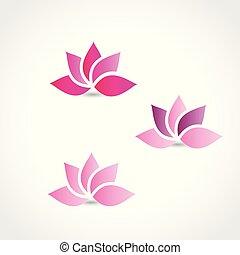 fleur, image, lotus, rose, ensemble, logo, vecteur