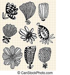 fleur, main, dessiner