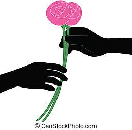 fleur, main, vecteur, donner