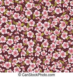 fleur, modèle, seamless, fond, sakura