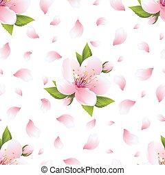 fleur, modèle, seamless, pétales, sakura, fond
