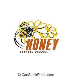 fleur, nourriture organique, abeille, miel, conception, icône