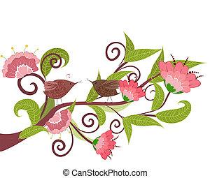 fleur, oiseaux, branche