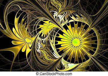 fleur, palette., jaune, fractal, arrière-plan., noir, com, design.