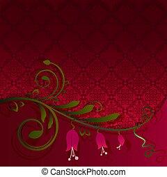 fleur, papier peint, vague, arrière-plan., vecteur, rouges