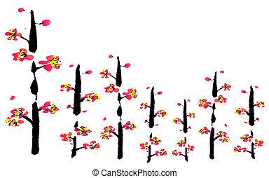fleur, peinture, chinois