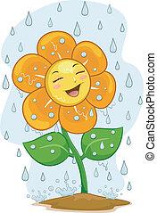 fleur, pluie, mascotte, sous