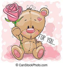 fleur rose, fond, ours, dessin animé