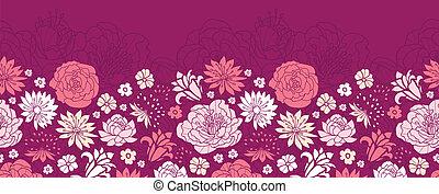 fleur rose, pourpre, modèle, seamless, silhouettes, fond, horizontal, frontière