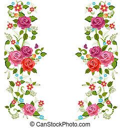 fleur, roses, frontière, foliate