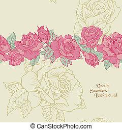 fleur, -, seamless, main, roses, vecteur, fond, dessiné