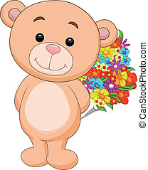 fleur, seau, dessin animé, ours, tenue