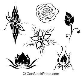 fleur, tatouage, modèle