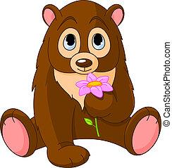 fleur, tenue, ours, mignon