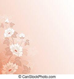 fleur, vendange, résumé, space., fond, copie, rouges