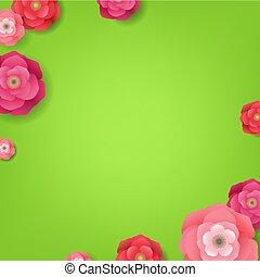 fleur, vert, carte