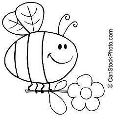 fleur, voler, esquissé, abeille