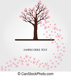 fleurir, vecteur, arbre