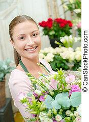 fleuriste, bouquet, fleurs, tenue