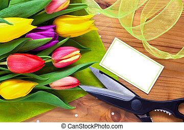 fleuriste, bouquet, vie, fleur, encore