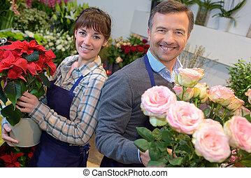 fleuriste, fleurs, tenue, bouquet