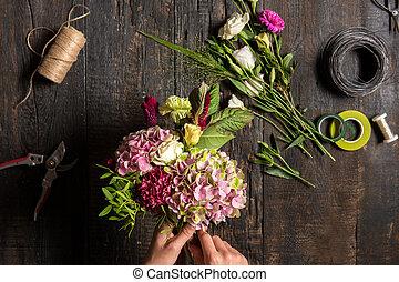 fleuriste, fonctionnement, rubans, outils, bureau